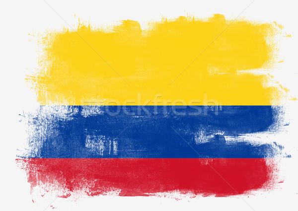 Stockfoto: Vlag · Colombia · geschilderd · borstel · solide · abstract
