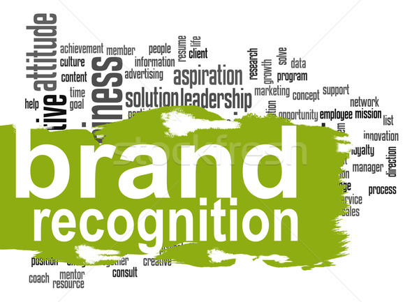 Brand recognition word cloud with green banner Stock photo © tang90246