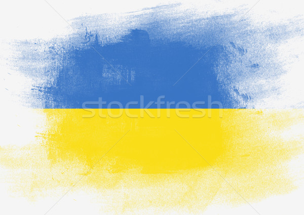 Flag of Ukraine painted with brush Stock photo © tang90246