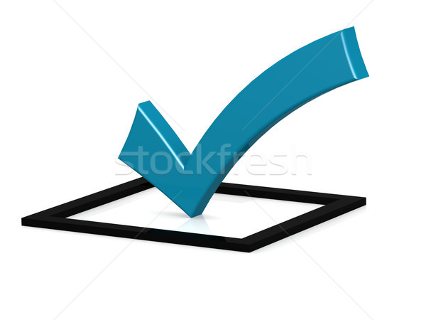 Blue check mark on black square Stock photo © tang90246
