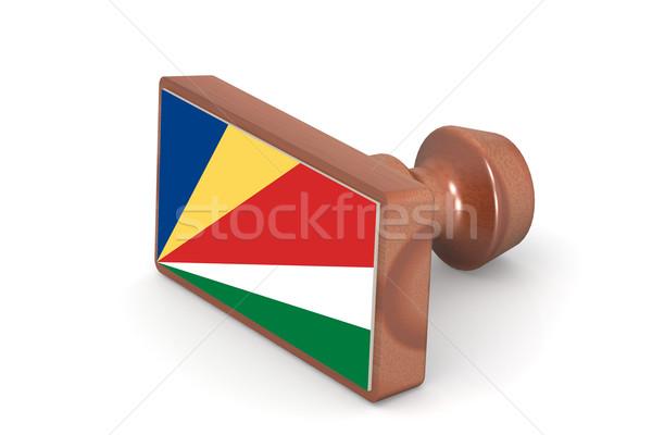 Fából készült bélyeg Seychelle-szigetek zászló kép renderelt Stock fotó © tang90246
