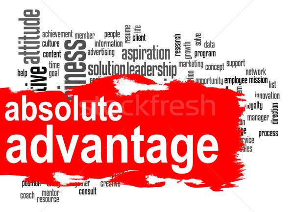 Előny szófelhő piros szalag kép renderelt Stock fotó © tang90246