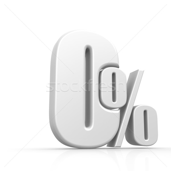 Metallic zero percent symbol on the white background Stock photo © tang90246