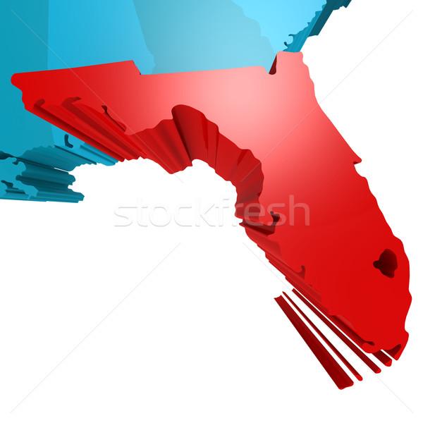 Florida térkép kék USA kép renderelt Stock fotó © tang90246