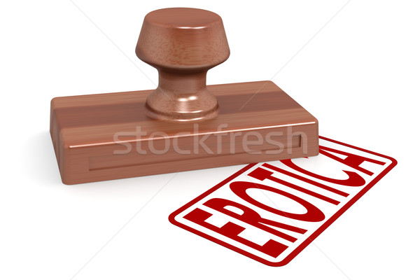 Wooden stamp erotica with red text Stock photo © tang90246