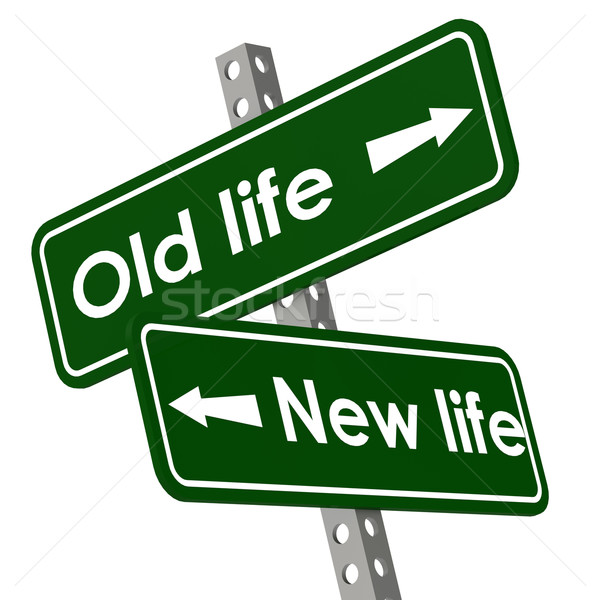 New life and old life road sign in green color Stock photo © tang90246