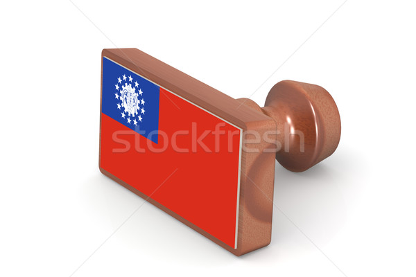 Wooden stamp with Myanmar flag Stock photo © tang90246