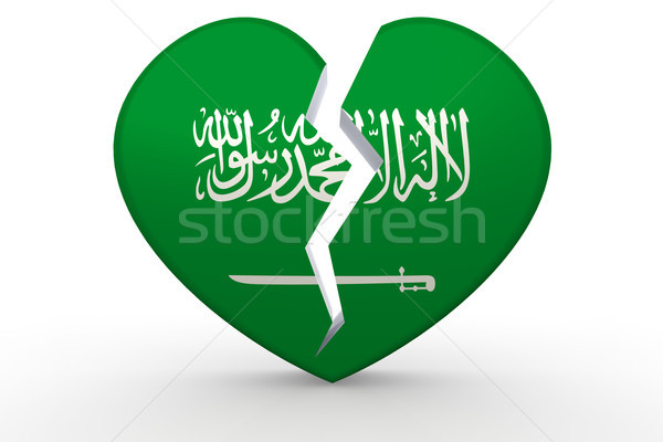 Gebroken witte hartvorm saudi vlag 3D Stockfoto © tang90246