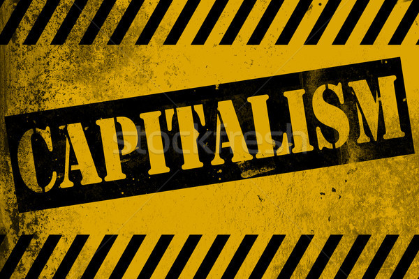 Capitalism sign yellow with stripes Stock photo © tang90246