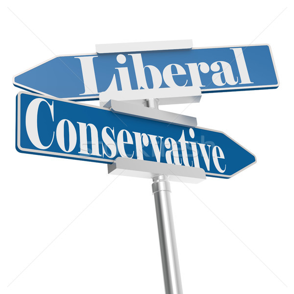 Change directions with conservative and liberal signs Stock photo © tang90246