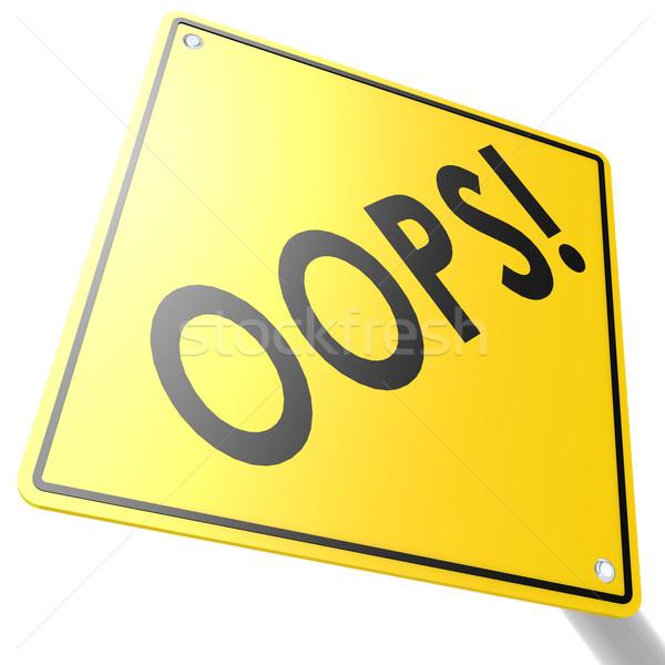 Verkeersbord oops informatie boord veiligheid Geel Stockfoto © tang90246