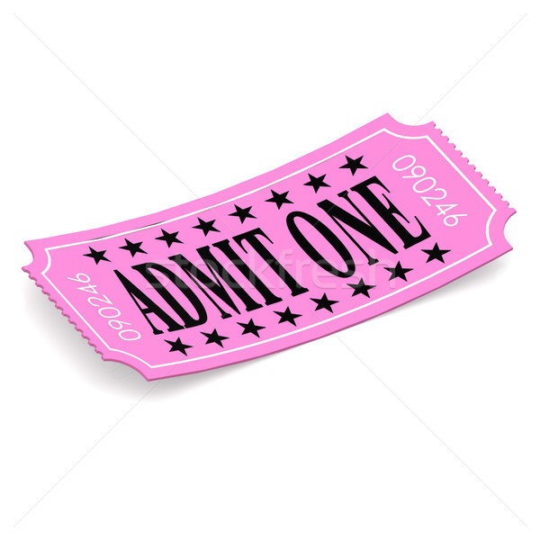 Admit one pink ticket on white background Stock photo © tang90246