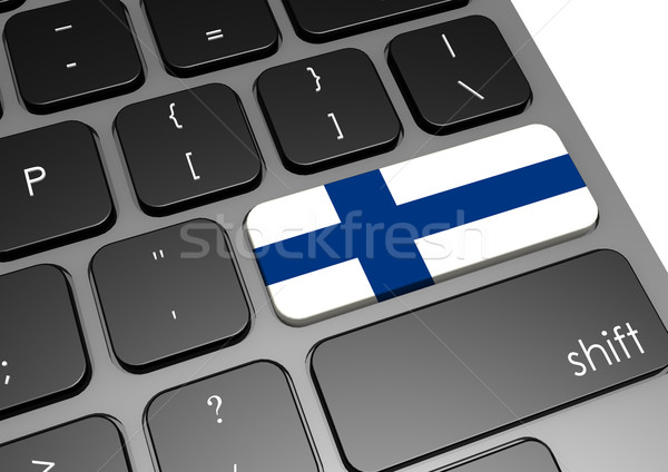 Finland toetsenbord afbeelding gerenderd gebruikt Stockfoto © tang90246