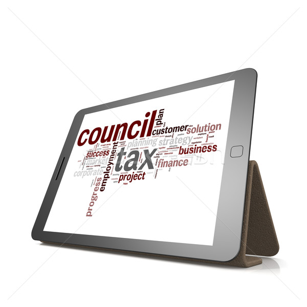 Counci tax word cloud on tablet Stock photo © tang90246