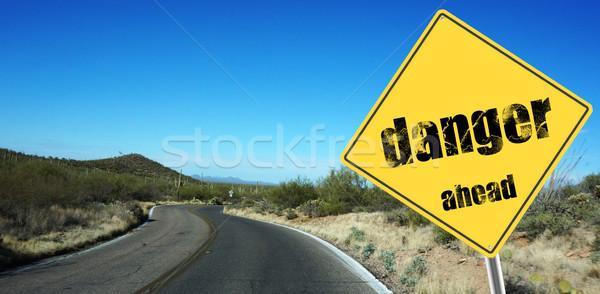 опасность впереди знак небе десерта дороги Сток-фото © tang90246