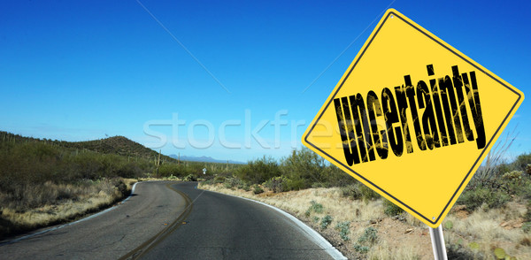 Uncertainty ahead sign Stock photo © tang90246