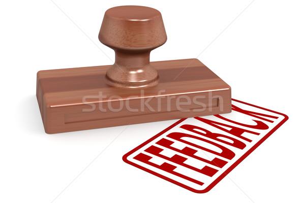 Ahşap damga geribesleme kırmızı metin görüntü Stok fotoğraf © tang90246