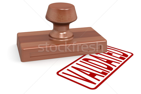 6089581 Wooden Stamp Validated With Red Text By