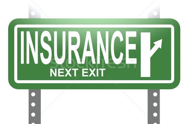 страхования зеленый знак совета изолированный изображение Сток-фото © tang90246