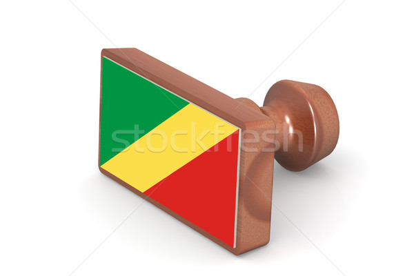 Wooden stamp with Republic of the Congo flag Stock photo © tang90246