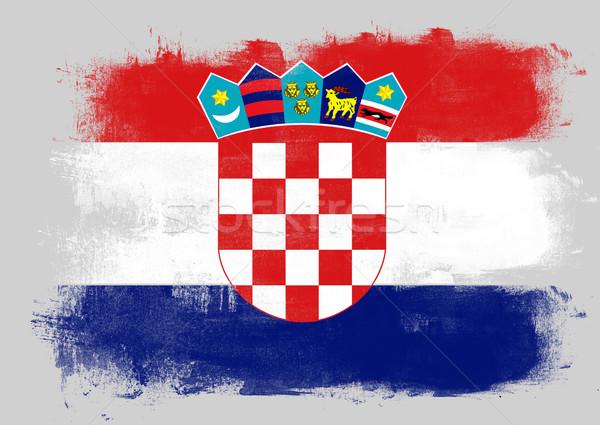 Bandeira Croácia pintado escove sólido abstrato Foto stock © tang90246