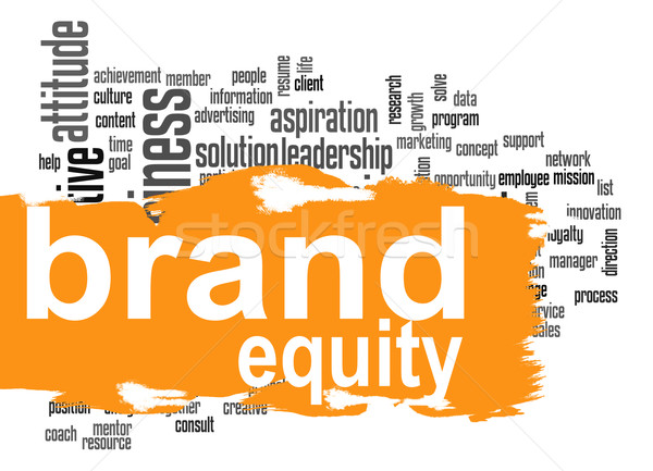 Brand equity word cloud with orange banner Stock photo © tang90246