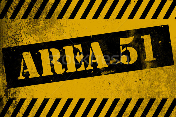 Aea 51 sign yellow with stripes Stock photo © tang90246