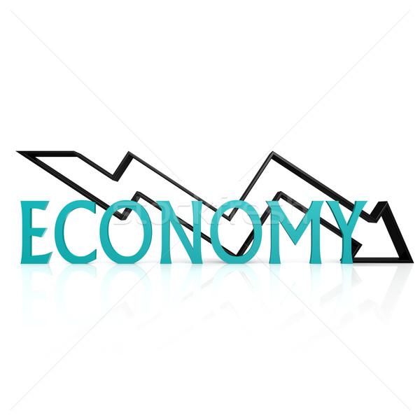 Economie beneden pijl business geld teken Stockfoto © tang90246