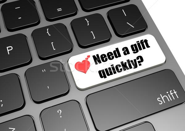 Szükség ajándék hamar billentyűzet levél karácsony Stock fotó © tang90246