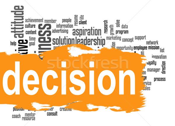 Decyzja chmura słowo żółty banner obraz świadczonych Zdjęcia stock © tang90246