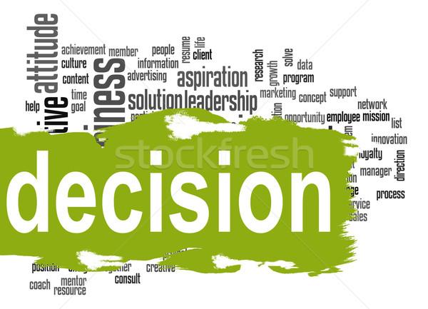 Decyzja chmura słowo zielone banner obraz świadczonych Zdjęcia stock © tang90246
