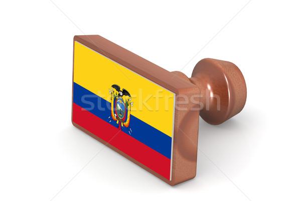 木製 スタンプ エクアドル フラグ 画像 レンダリング ストックフォト © tang90246