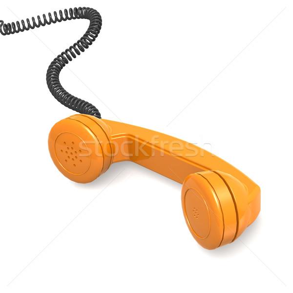 Narancs telefonkagyló telefon telefon kapcsolat beszéd Stock fotó © tang90246