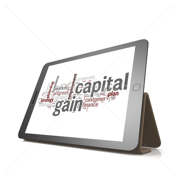 Capital gain word cloud on tablet Stock photo © tang90246