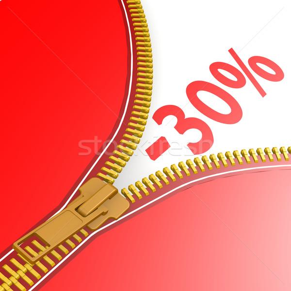 Fermuar otuz yüzde iş kırmızı Stok fotoğraf © tang90246
