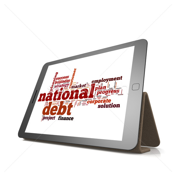 National debt word cloud on tablet Stock photo © tang90246