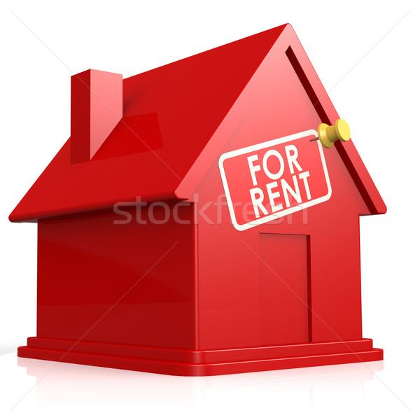 Izolált Fehér ház bérlés építkezés otthon piros Stock fotó © tang90246