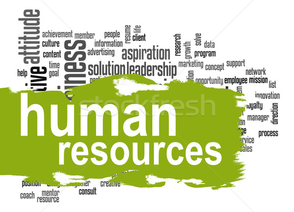 Human resources word cloud with green banner Stock photo © tang90246