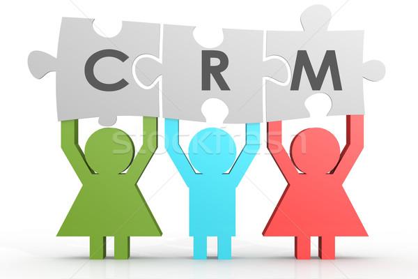Crm vásárló kapcsolat vezetőség puzzle vonal Stock fotó © tang90246