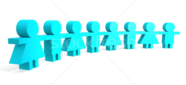 Blue people in a line Stock photo © tang90246