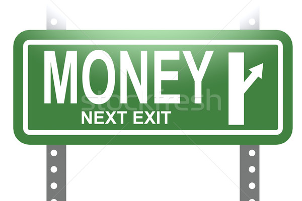 Money green sign board isolated Stock photo © tang90246