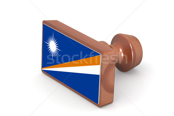 Wooden stamp with Marshall Islands flag Stock photo © tang90246
