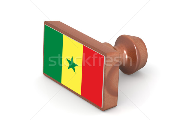 Wooden stamp with Senegal flag Stock photo © tang90246