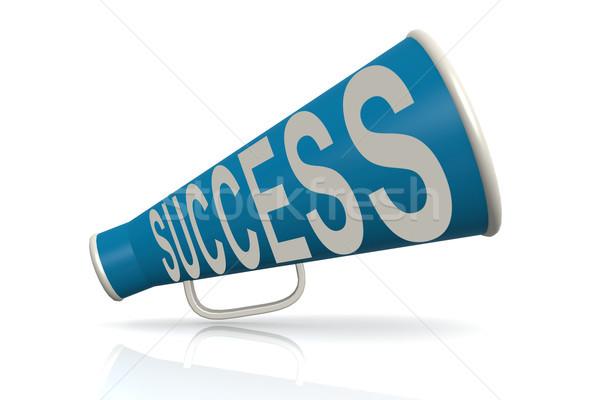 Azul megafone sucesso palavra estratégia isolado Foto stock © tang90246