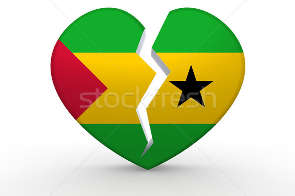 Broken white heart shape with Sao Tome and Principe flag Stock photo © tang90246