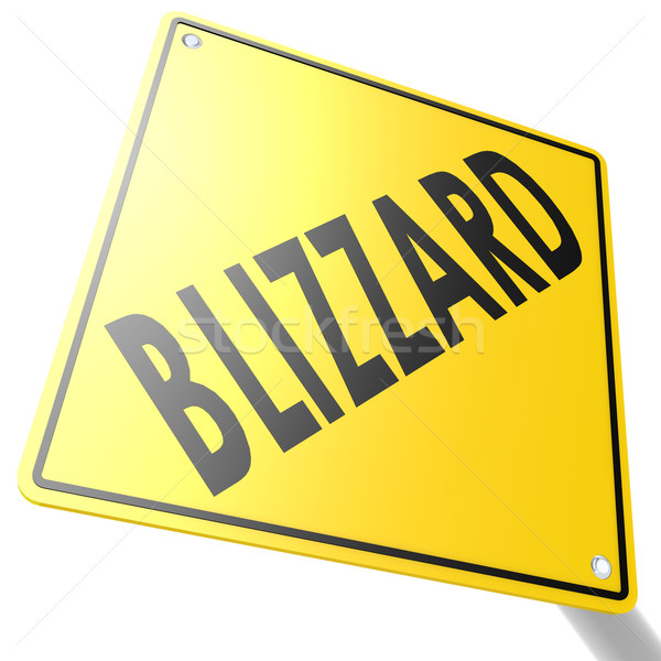 Road sign with blizzard Stock photo © tang90246