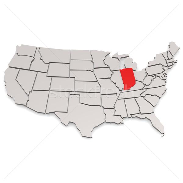Indiana kaart afbeelding gerenderd gebruikt Stockfoto © tang90246