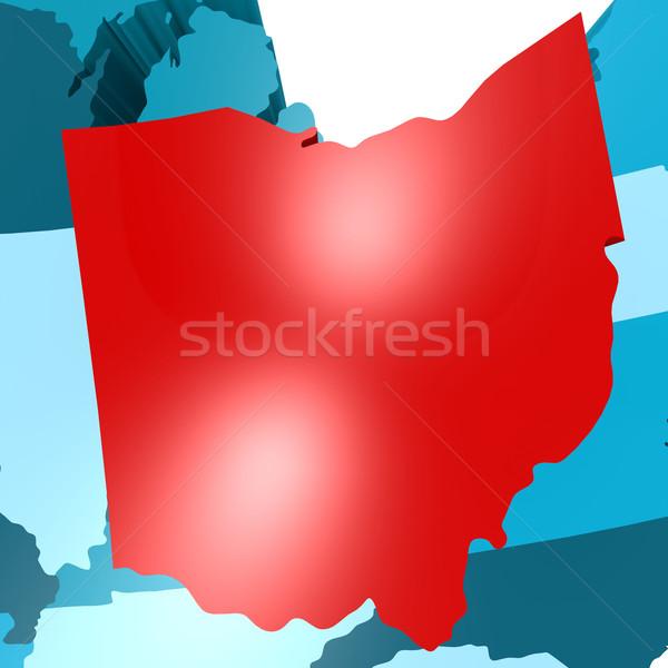 オハイオ州 地図 青 米国 画像 レンダリング ストックフォト © tang90246