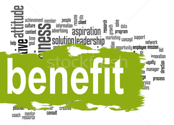 Benefit word cloud with green banner Stock photo © tang90246