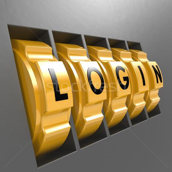 Turn lock with login word Stock photo © tang90246